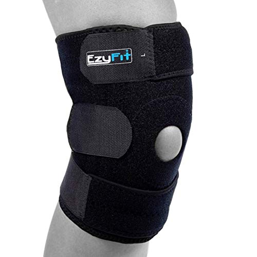 Ezyfit Knee Brace Support For Arthritis, Acl, Lcl, Mcl, Sports Exercise, Meniscus Tear Injury Recovery Side Stabilizers Open Patella Best Comfort Fit Adjustable Neoprene Wrap 3 Sizes