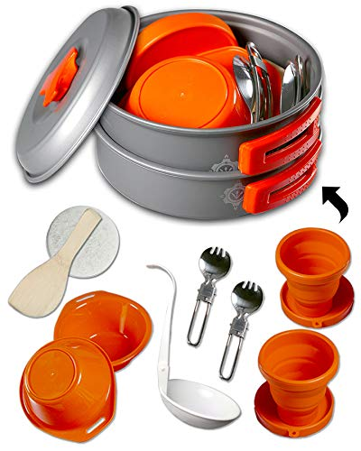 Gear4u: Best Bpa Free Camping Cookware Set Mess Kit 13 Pieces Including Free Bonus Non Stick Anodized Aluminum Complete Lightweight Folding Kit For Camping Hiking & Backpacking Outdoor Cooking