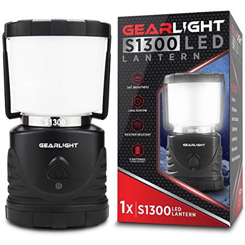 Gearlight Led Camping Lantern S1300 Up To 72 Hours Battery Powered Light Best Outdoor, Camp, Tent, Hurricane, And Emergency Lanterns