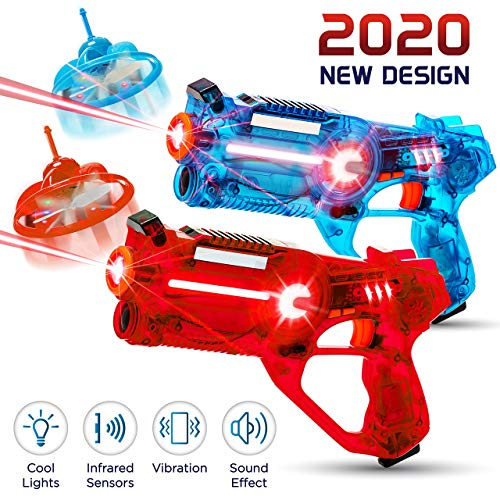 Hiphop Toy 2 Player Kids Laser Tag Gun Game With Flying Drone Target, 2 Laser Blasters And 2 Wireless Drones, Infrared Shooting Games With Leds And Sounds, Best Gift For Boys Ages 5, 6, 7, 8, 9, 10