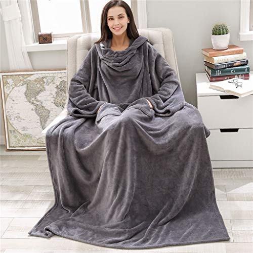 Hsada Premium Fleece Blanket With Sleeves For Adult, Women, Men | Cozy, Warm, Extra Soft, Plush, Functional, Lightweight Wearable Throw Blanket Robe | Best Gift For Family And Friends(gray)