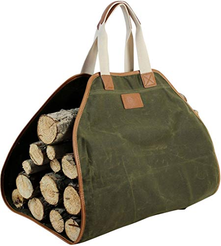 Inno Stage Canvas Log Carrier Bag,waxed Durable Wood Tote,fireplace Stove Accessories,extra Large Firewood Holder With Handles For Camping Best Gifts