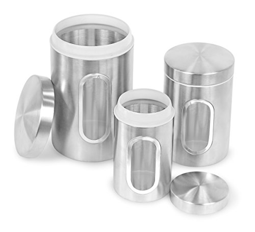 Internet's Best Stainless Steel Storage Canisters Set Of 3 Kitchen Food Coffee Tea Pasta Sugar Flour Container Storage Jar With Window