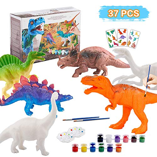 Joda Kids Arts And Crafts Painting Kit, Diy Painting Dinosaurs Toys Arts & Crafts Supplies For Boys Girls Create Own Dinosaur Figures, Best Dinosaur Birthday Gifts For Kids Age 3 4 5 6 7 8 Years Old