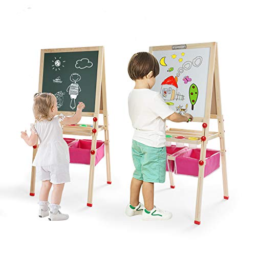 Kids Easel Double Sided Magnetic Whiteboard & Chalkboard Multiple Use Easel With Bonus Magnetics, Numbers, Paint Cups Best Gift For Kids Boys Girls