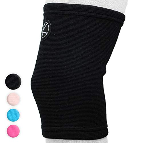 Kids Knee Sleeve For Sports & Kids Knee Brace For Osgood Schlatter Best Knee Support For Girls, Boys, Football, Pain, Basketball, Tendonitis, Dance, Gymnastics, Arthritis, Acl, Mcl, Lcl (black)