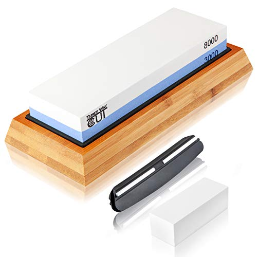 Knife Sharpening Stone Kit 2 Side Whetstone Set 3000/8000 Grit Sharpening And Honing Waterstone Best Wet Stone Sharpener For Chefs And Kitchen Knife Anti Slip Base Angle Guide & Flattening Stone