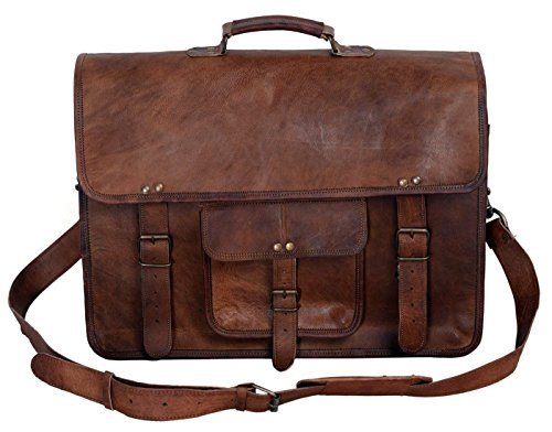 Kpl 18 Inch Leather Briefcase Best Laptop Messenger Bag Satchel Office College Bags For Men Gifts For Him