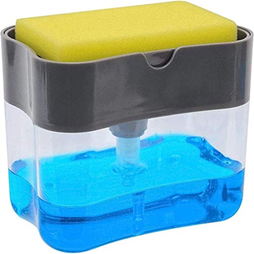 Kytree Dish Soap Pump Dispenser Rust Proof Durable Instant Refill Counter Top Sink Dispenser With Sponge Holder 2 In 1 Best For Family School Office Kitchen Manual Soap Liquid Box Dispenser Press