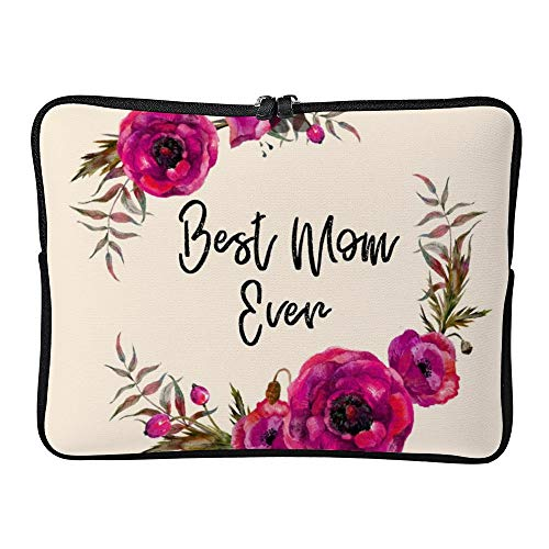 Laptop Sleeve Water Repellent Neoprene Bag Protective Case Cover Compatible With Macbook Pro/asus/dell/hp/sony/acer 17 Inch, Pink Fuchsia Floral Poppies Wreath Best Mom Ever