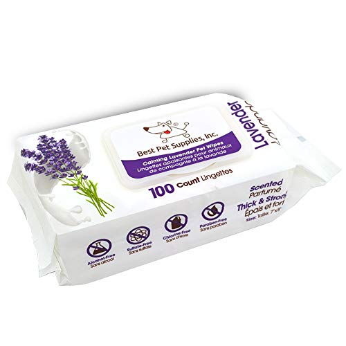 Lavender Scented Calming Pet Wipes For Dogs & Cats – Extra Soft & Strong Grooming Wipes With Gentle Plant Derived Formula – By Best Pet Supplies, Model Number: Ww La 100t