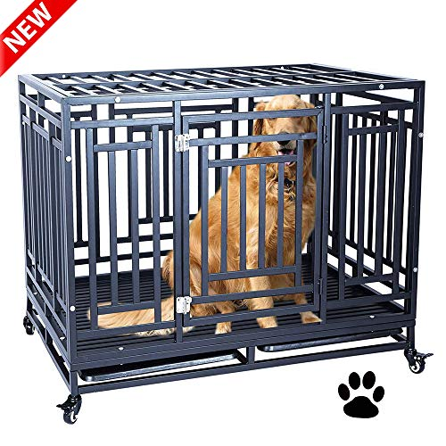 Leekous Best Heavy Duty Dog Crate, Large Dog Cage Kennel For Large Dogs, Stronger Metal Frame Pet Kennel With Crates, Indoor & Outdoor Kennel, Easy To Assemble And Move With 4 Wheels