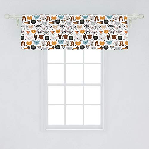 "Lunarable Animal Window Valance, Cat And Dog Faces Best Friends Whisker Bulldog Beagle Labrador Calico Kitty Print, Curtain Valance For Kitchen Bedroom Decor With Rod Pocket, 54"" X 18"", Orange Grey"