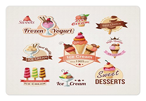 Lunarable Ice Cream Pet Mat For Food And Water, Different Vintage Emblems Set Best Choice Desserts Frozen Yogurt, Rectangle Non Slip Rubber Mat For Dogs And Cats, Multicolor