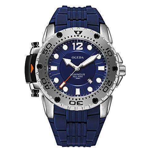 Men's Watches Ogeda Analog Quartz Watches Water Resistant Silicone Strap Sports Military Wrist Watch Best Gift For Men (blue)