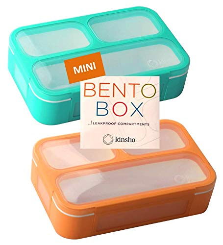 Mini Lunch Box Snack Containers For Kids | Small Bento Box Portion Container | Toddler Pre School | Leak Proof Boxes For Work, Travel | Best For Adults Boys Or Girls | Blue + Orange Set Of 2