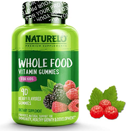 Naturelo Whole Food Vitamin Gummies For Kids Best Chewable Gummy Multivitamin For Children New & Improved Flavor Non Gmo All Natural Vitamins, Minerals 90 Vegan Gummies