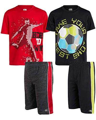 Only Boys 4 Piece Performance Sports T Shirt And Short Set, Size 12/14, Win/best Shot