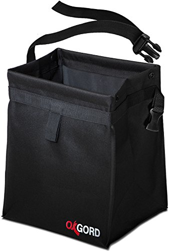 Oxgord Waterproof Car Trash Can Bin Interior Garbage Waste Basket Container Organizer Vehicle Accessory For Travel And Camping Best For Hanging From Seat, Black