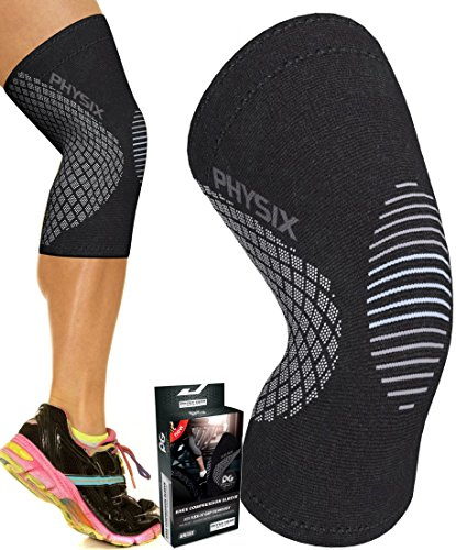 Physix Gear Knee Support Brace Premium Recovery & Compression Sleeve For Meniscus Tear, Acl, Mcl Running & Arthritis Best Neoprene Stabilizer Wrap For Crossfit, Squats & Workouts (single Grey M)
