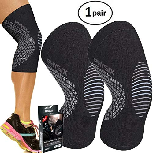 Physix Gear Sport Knee Support Brace Premium Recovery & Compression Sleeve For Meniscus Tear, Acl, Running & Arthritis Best Neoprene Wrap For Crossfit, Squats & Heavy Duty Workouts 1pair Grey Xl
