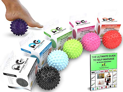 Physix Gear Sport Massage Balls Best Spiky Ball Roller For Plantar Fasciitis Trigger Points Neck & Back Pain Relief Deep Tissue Rehab Reflexology Acupressure Reach Areas Foam Rollers Can't(purp)
