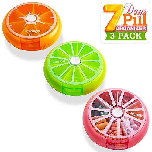 Pill Case Reminder Colorful Pack Of 3 Daily Round Medication Cases For 7 Day Weekly Travel With Rotating Push Button Dispenser Compartments, Best Pill Box Organizer For Pills And Vitamins