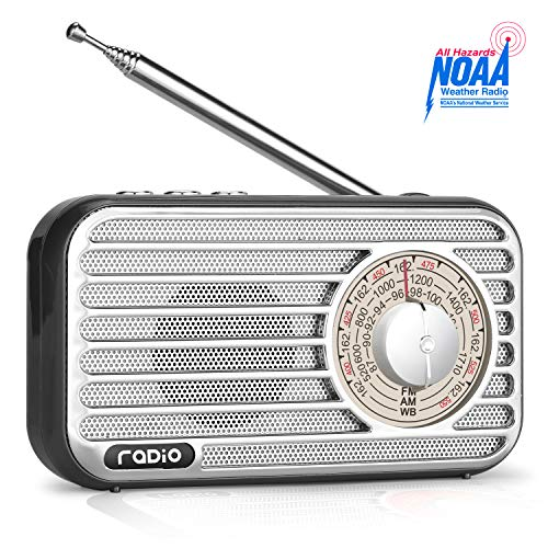 Portable Am Fm Weather Radio, Retro Bluetooth Speaker, Vintage Radio With Best Reception, Rechargeable Battery, Headphone Jack, Usb/tf/aux Player, Loud Volume For Home, Office, Kitchen (black)