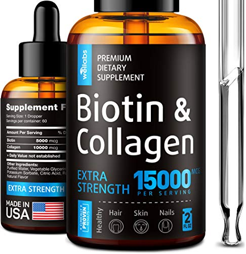 Premium Biotin & Collagen Hair Growth Drops Potent Us Made Hair Growth Product Healthy Skin & Nails Liquid Biotin & Collagen Supplement For Best Absorption Perfect Hair Growth For Men & Women