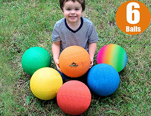 Premium Playground Balls 8.5 Inch, Best Kickball Dodgeball For Kids And Adults Official Size For Dodge Ball, Handball, Square Game, Camps, Picnic, Church & School + Free Pump & Mesh Bag (pack Of 6)