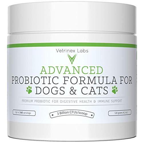 Probiotics For Dogs And Cats With Prebiotic 240 Servings. 3 Billion Cfu. 7 Strains Best Supplement For Relief From Diarrhea, Skin & Yeast Infections, Allergies, Gas, Itch, Bad Breath & Stomach