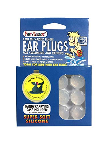 Putty Buddies Original Swimming Earplugs The Best Swimming Ear Plugs Block Water Super Soft Comfortable Great For Kids 3 Pair Pack (clear)