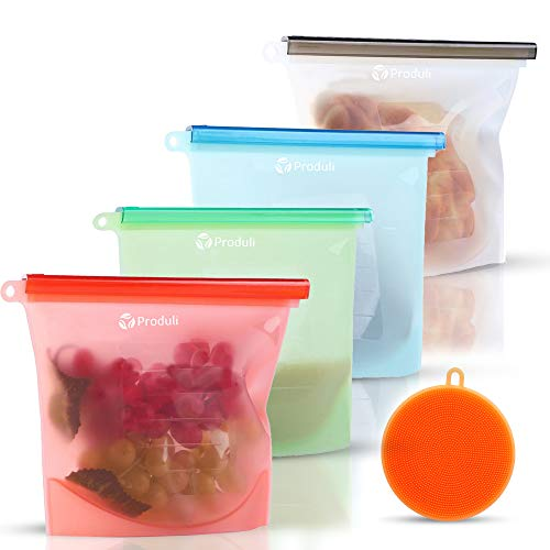 Reusable Silicone Food Storage Bags, 4 Pack Set, Sandwich Bags Meal Prep Leak Proof Freezer Bags Airtight Ziplock Lunch Bags Best For Food Marinate Snack Leftover Sous Vide Microwavable Medium & Large