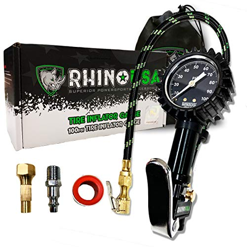 """Rhino Usa Tire Inflator With Pressure Gauge (0 100 Psi) Ansi B40.1 Accurate, Large 2"""" Easy Read Glow Dial, Premium Braided Hose, Solid Brass Hardware, Best For Any Car, Truck, Motorcycle, Rv…"""