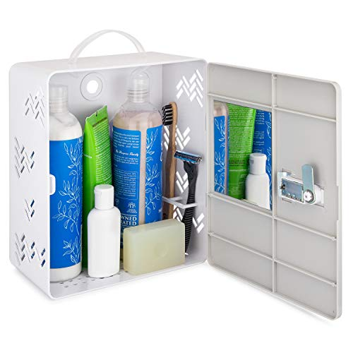 Shlocker Shower Caddy Locker Tote Best For Dorms, College, Coliving, Sharing Bathroom With Roommates Or Family. Suction Cups, Lock, Mirror