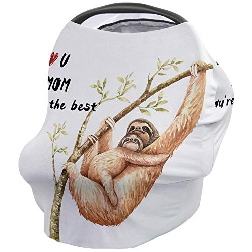 Sloth Nursing Covers For Breastfeeding Baby Stroller And Car Seat Combo I Love Mom You're The Best Carseat Canopy Baby Cart High Chair Infinity Scarf