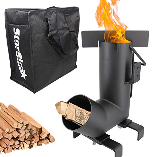 Starblue Camping Rocket Stove With Free Carrying Bag A Portable Wood Burning Camping Stove With Large Fuel Chamber Best For Outdoor Cooking, Camping, Picnic, Bbq, Hunting, Fishing