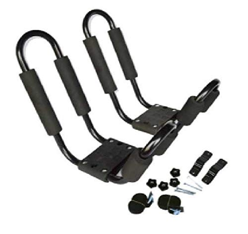 T Best Kayak Holder, 1 Pair Upgraded Heavy Duty Folding J Bar Rack Canoe Kayak Carrier Car Rail Storage Holder With 2 Straps And 4 Screws Fittings Accessory