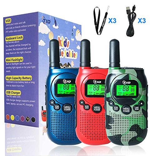 Tidradio Td M3 Walkie Talkies For Kids 22 Channel Vox Rechargeable Kids Walkie Talkies Uhf 2 Way Radio Toy Best Gifts For Boys And Girls To Outside 3 Pack