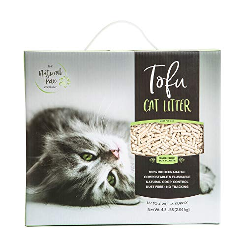 Tofu Cat Litter Lightweight Refill Box, Best Natural Odor Control, 99.9% Dust Free, Premium Clumping Multi Cat, Fast Acting Super Absorbing, Flushable, Unscented 4.5 Lb