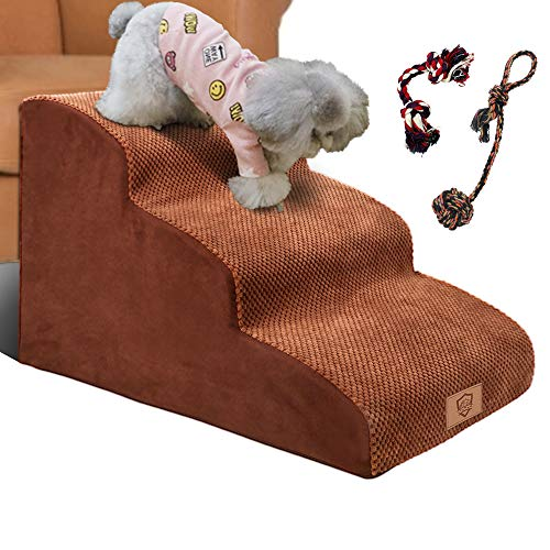 Topmart 3 Tiers Foam Pet Stairs/steps,extra Wide Deep Dog Stairs,high Density Foam Pet Ramp/ladder,best For Older Dogs,cats,small Pets,with 1 Dog Rope Toy And 1 Dog Rope Ball