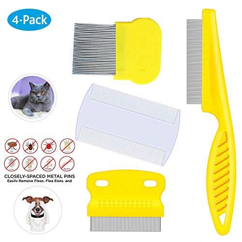 Weback Flea Comb For Cats Dogs Pets Best Grooming Tools Set Effective Float Hair Remover Pet Tear Stain Remover Combs Nit Comb For Removal Dandruff Pet Grooming Brush