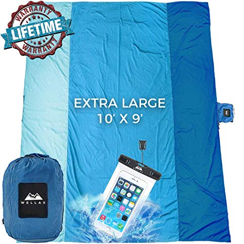 Wellax Sandfree Beach Blanket Huge Ground Cover 9' X 10' For 7 Adults Best Sand Proof Picnic Mat For Travel, Camping, Hiking And Music Festivals Durable Tarp With Corner Pockets (blue)