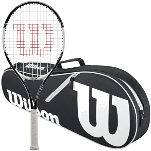 Wilson Roger Federer 21 Inch Pre Strung Junior Black/red Tennis Racquet Kit Or Set Bundled With A Black/white Advantage 3 Pack Tennis Bag (best Racquet For Kids Ages 6 8)