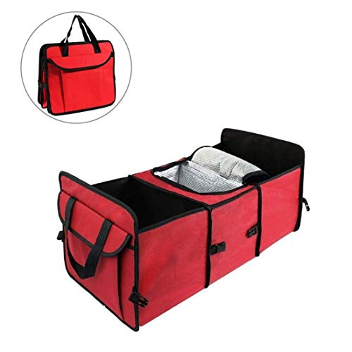 Witskich Car Trunk Organizer And Storage Bag, Large Auto Trunk Storage Container With Cooler & Warmer Set – Best Car Storage Organizer Box For Cargo, Groceries While Traveling – Red