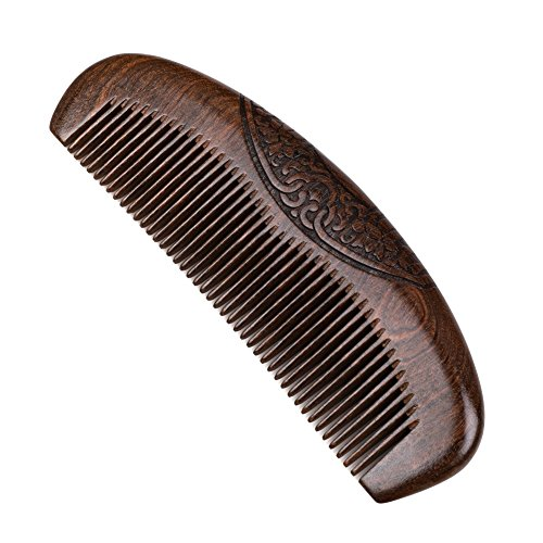 Wood Hair Comb Sandalwood Hair Beard Comb With Engraved Patterns Anti Static Detangling Handmade Fine Tooth Comb Best For All Types Of Hair Beard Moustaches