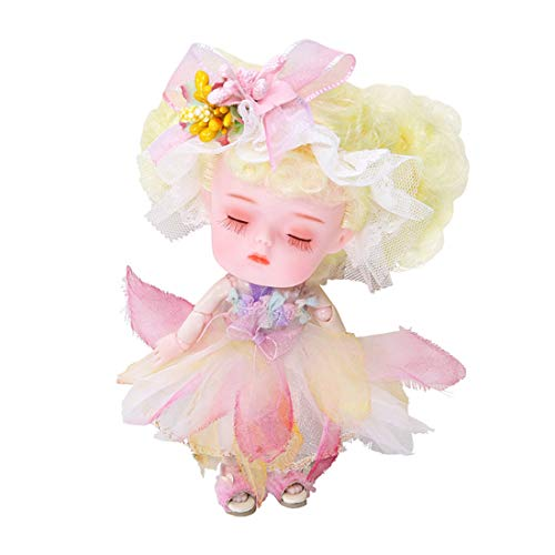 Xshion 1/12 Bjd Doll, 5.51 Inch Ball Jointed Doll 26 Joints Movable Mini Doll Diy Toys With Clothes,shoes, Wig Hair Makeup, Collection Toys Best Gift For Girls Kids Water Lily