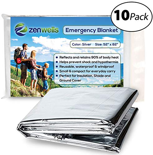Zenwells Emergency Blankets Pack Of 10 Mylar Thermal Solar Blankets For Maximum Protection Best For Your Survival Kit, Winter Car Kits, Outdoors Or First Aid