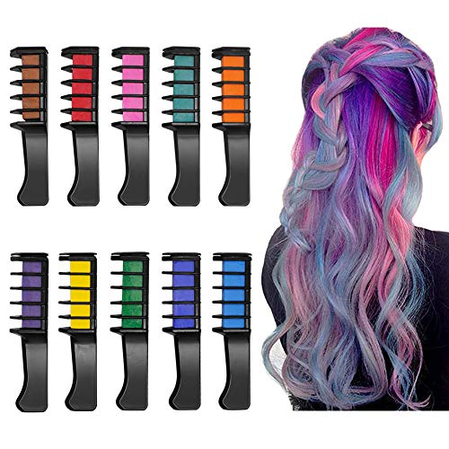 10 Color Temporary Bright Hair Chalk Set, Foreverrise New Hair Chalk Comb Washable Hair Color Dye, Best Gift For Kids Hair Dyeing Party, Halloween Christmas Birthday Parties, Cosplay