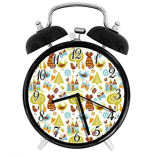 22yiihannz Cats 4 Inch Silent Night Light Alarm Clock,cats Birds And Butterflies With Ornate Details Fantasy Castle Trees Hes,the Best Gift Choice For A Friend Or Family